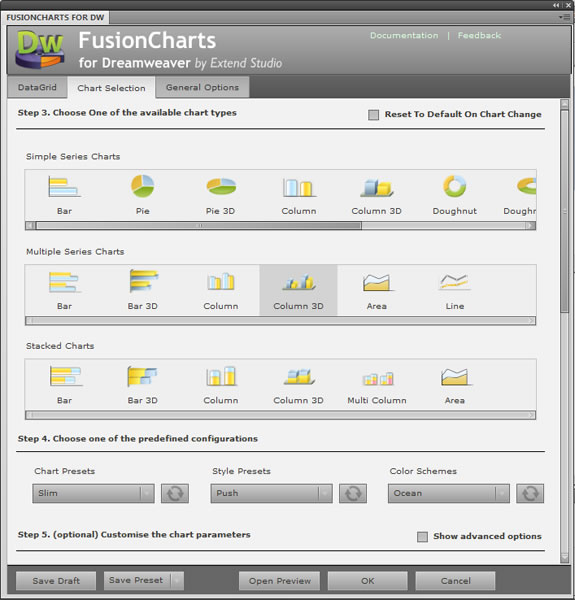 FusionCharts for Dreamweaver