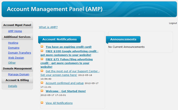 WebHostingHub Account Management Panel